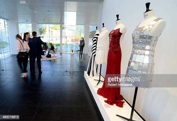 Invited guests wait in the lobby for Princess Letizia of Spain and Prince Felipe of Spain to visit the new 'Puig' company headquarters at the Torre...