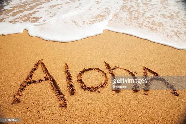 Inviting 'Aloha' written in the sand with surf.