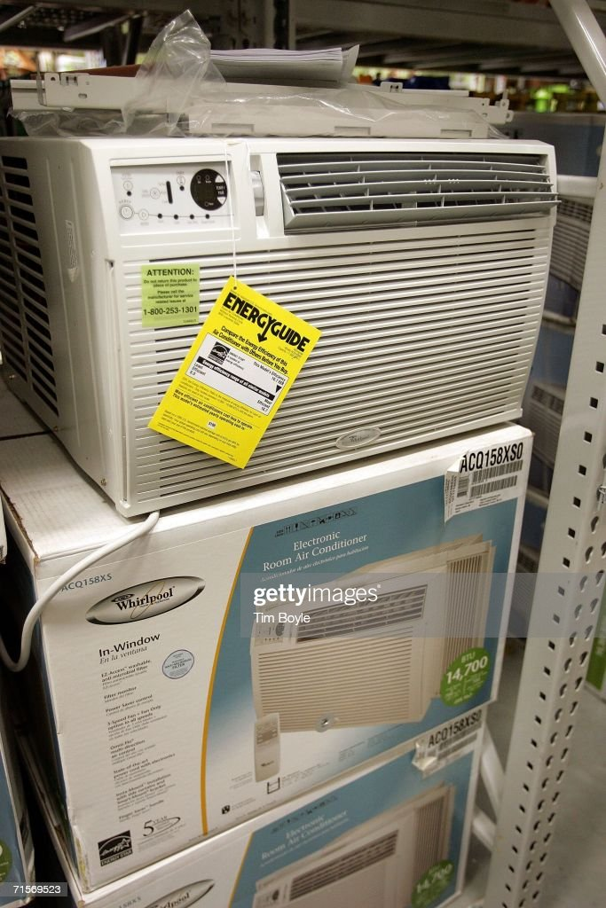 In-window air conditioners for sale at Lowe's home improvement store August 2, 2006 in Arlington Heights, Illinois. With the heat wave blanketing much of the Midwest and now the East Coast, retailers have reported a spike in sales of air conditioners and fans.