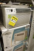 Inwindow air conditioners for sale at Lowe's home improvement store August 2 2006 in Arlington Heights Illinois With the heat wave blanketing much of...