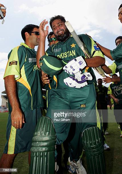 Inzamam UlHaq of Pakistan cries as he leaves the field with a guard of honour having lost his wicket to Tawanda Mupariwa of Zimbabwe in what is his...