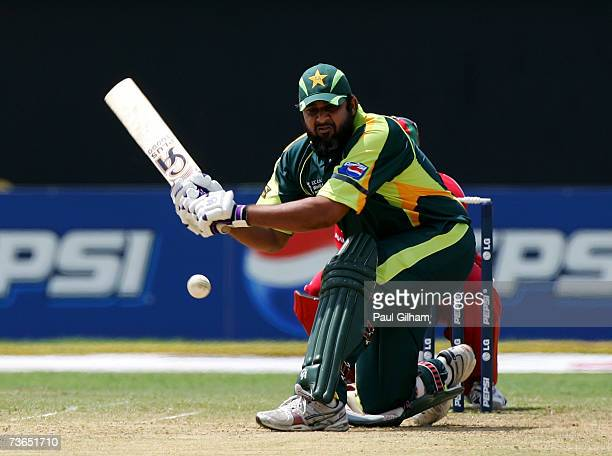 Inzamam UlHaq of Pakistan hits out during the ICC Cricket World Cup 2007 Group D match between Pakistan and Zimbabwe at Sabina Park on March 21 2007...