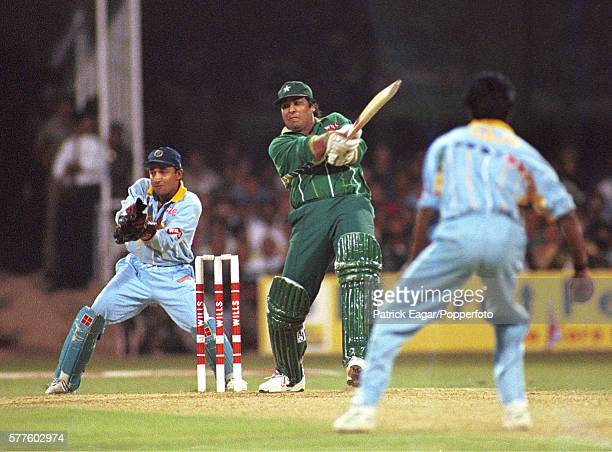 InzamamulHaq batting for Pakistan during the Wills World Cup Quarter Final between India and Pakistan at Bangalore India 9th March 1996 The...