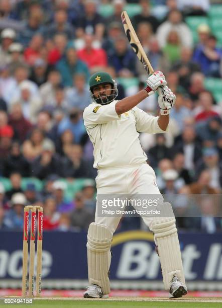 AUGUST 19 InzamamulHaq of Pakistan hits a four off Steve Harmison during the 4th Test match against Pakistan at the Oval in London on 19th of August...