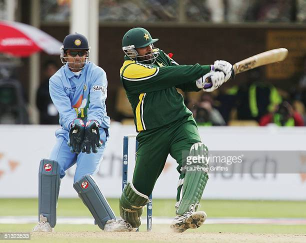 InzamamUlHaq of Pakistan hits out during The ICC Champions Trophy England 2004 match between Pakistan and India on September 19 2004 at Edgbaston in...