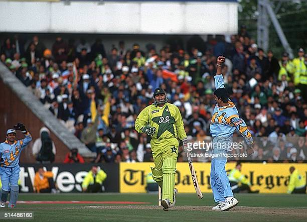 InzamamulHaq of Pakistan is out LBW to Venkatesh Prasad of India during the ICC World Cup Super Sixes match between India and Pakistan at Old...