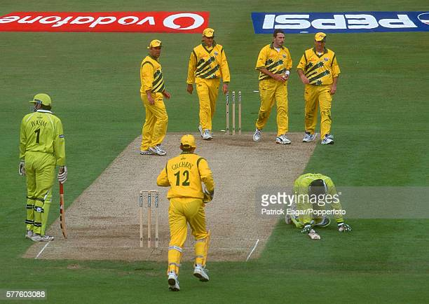 InzamamulHaq of Pakistan is run out by Damien Fleming of Australia during the ICC World Cup match between Australia and Pakistan at Headingley Leeds...