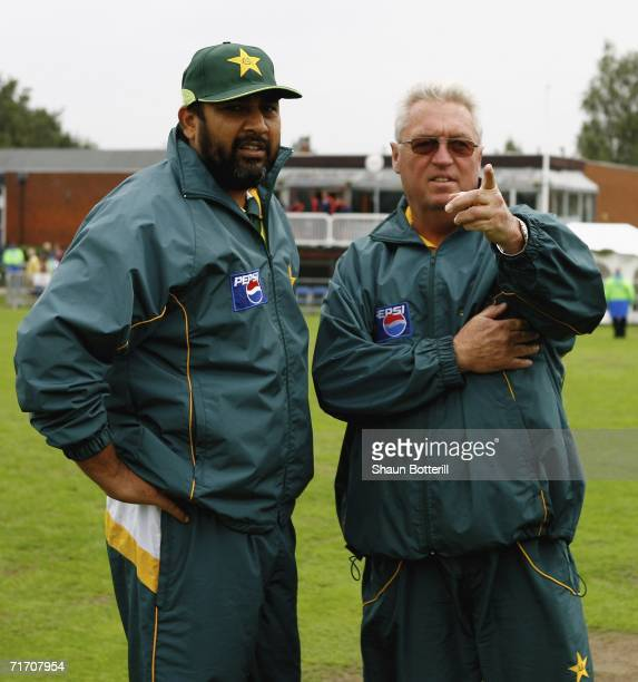 InzamamulHaq the Pakistan captain and Bob Woolmer the coach inspect the wicket before the one day match between Middlesex and Pakistan at Uxbridge...