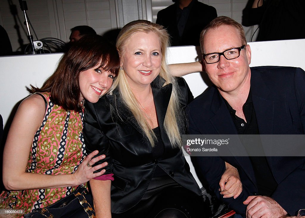 Io Bottoms (L) and Bret Easton Ellis (R) attend the Ferragamo presentation Spring Summer Runway Collection with VIP dinner, hosted by Jacqui Getty and Harpers BAZAAR at Chateau Marmont on January 24, 2013 in Los Angeles, California.