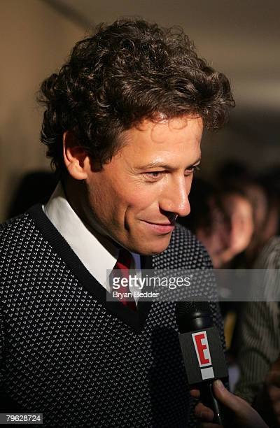 Ioan Gruffudd is interviewed backstage at the Tommy Hilfiger Fall 2008 fashion show during MercedesBenz Fashion Week Fall 2008 at Avery Fisher Hall...