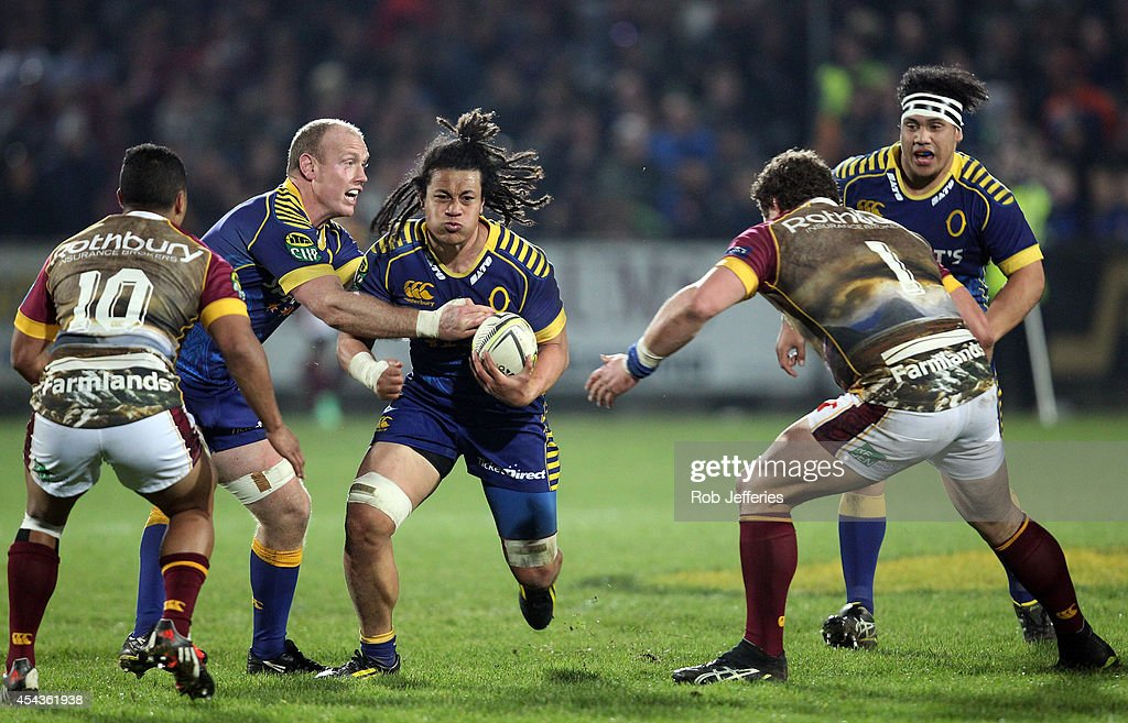 <a gi-track='captionPersonalityLinkClicked' href=/galleries/search?phrase=TJ+Ioane&family=editorial&specificpeople=7952802 ng-click='$event.stopPropagation()'>TJ Ioane</a> of Otago on the charge during the ITM Cup match between Southland and Otago on August 30, 2014 in Invercargill, New Zealand.