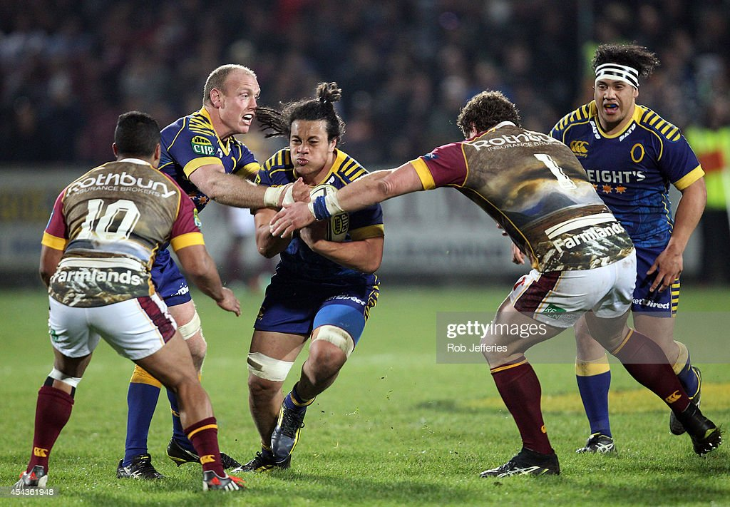 TJ Ioane of Otago on the charge during the ITM Cup match between Southland and Otago on August 30, 2014 in Invercargill, New Zealand.