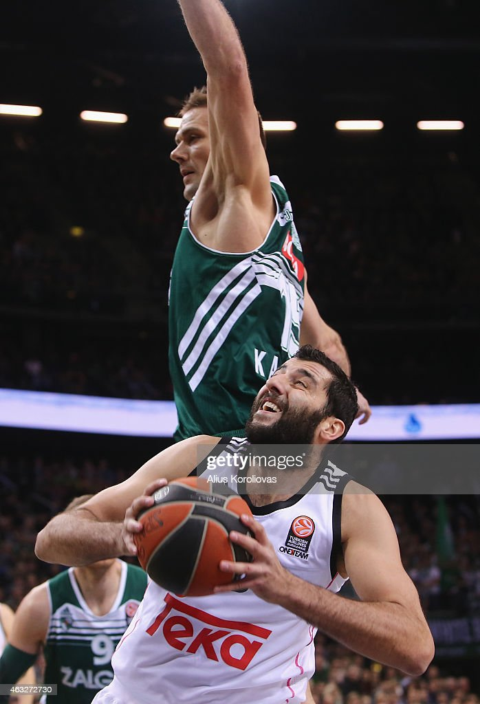 Ioannis Bourousis #30 of Real Madrid competes with Robertas Javtokas #15 of Zalgiris Kaunas in action during the Turkish Airlines Euroleague...