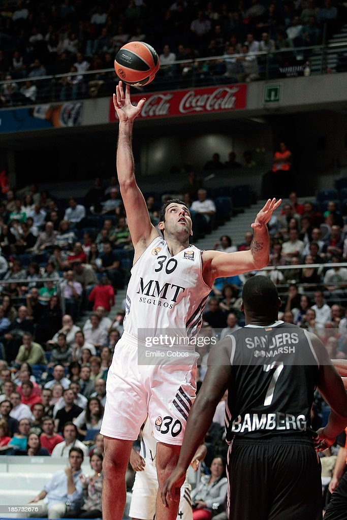 Ioannis Bourousis #30 of Real Madrid in action during the 20132014 Turkish Airlines Euroleague Regular Season Date 2 game between Real Madrid v Brose...
