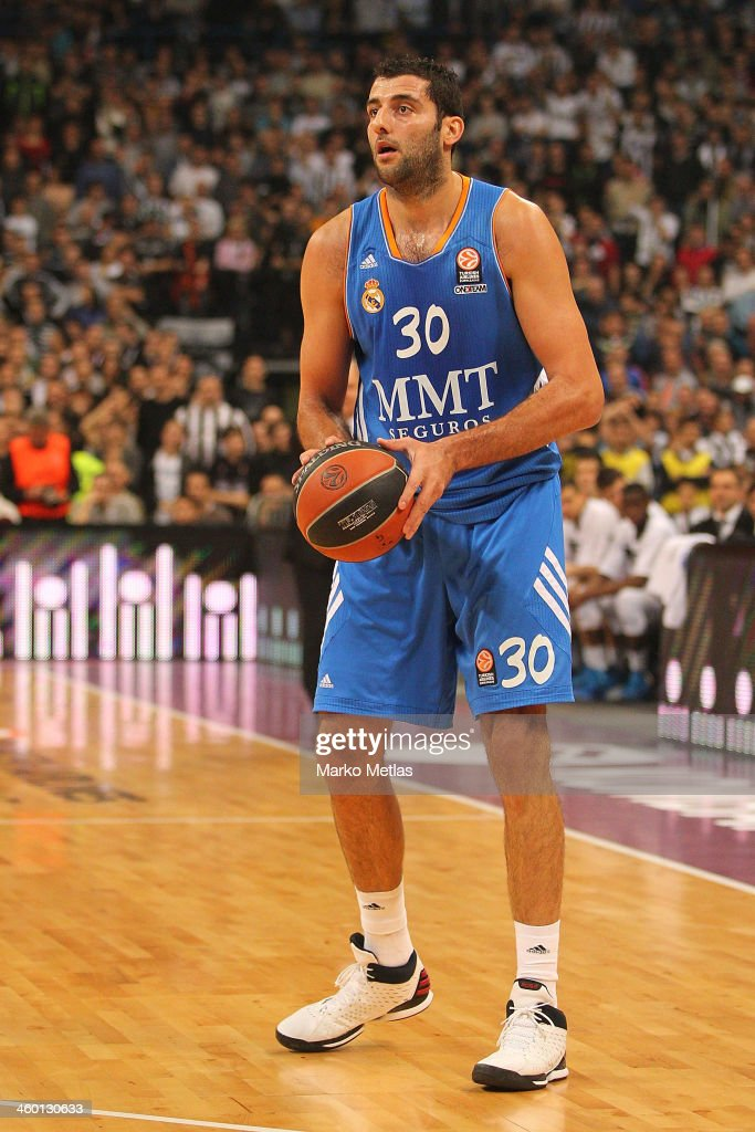 Ioannis Bourousis #30 of Real Madrid in action during the 20132014 Turkish Airlines Euroleague Top 16 Date 1 game between Partizan NIS Belgrade v...