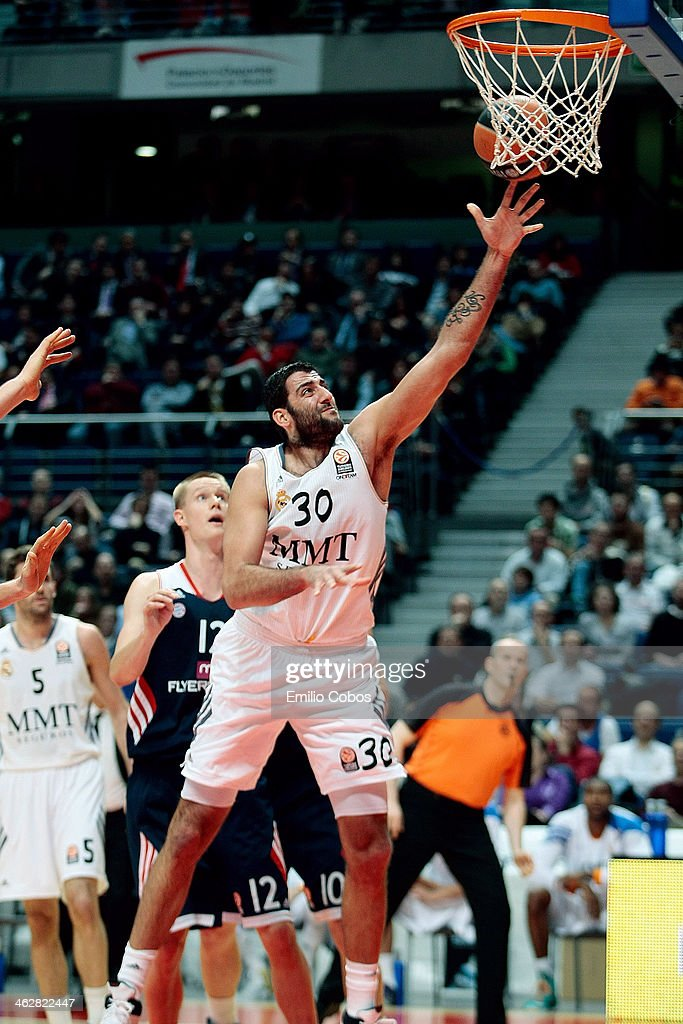 Ioannis Bourousis #30 of Real Madrid in action during the 20132014 Turkish Airlines Euroleague Top 16 Date 3 game between Real Madrid v FC Bayern...