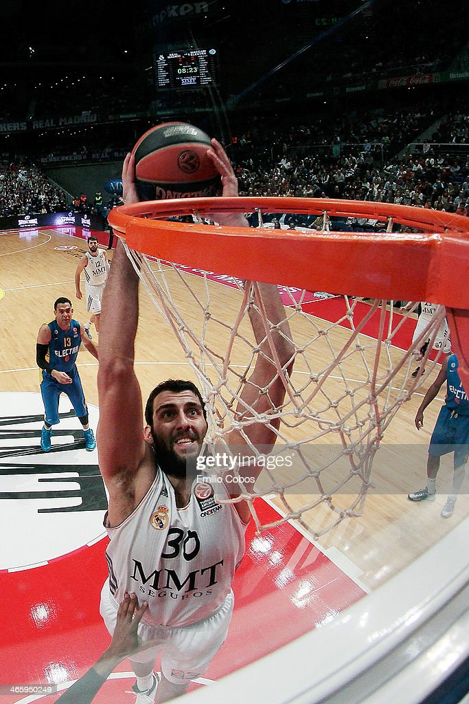 Ioannis Bourousis #30 of Real Madrid in action during the 20132014 Turkish Airlines Euroleague Top 16 Date 5 game between Real Madrid v Maccabi...