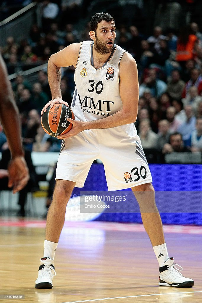 Ioannis Bourousis #30 of Real Madrid in action during the 20132014 Turkish Airlines Euroleague Top 16 Date 7 game between Real Madrid v Zalgiris...