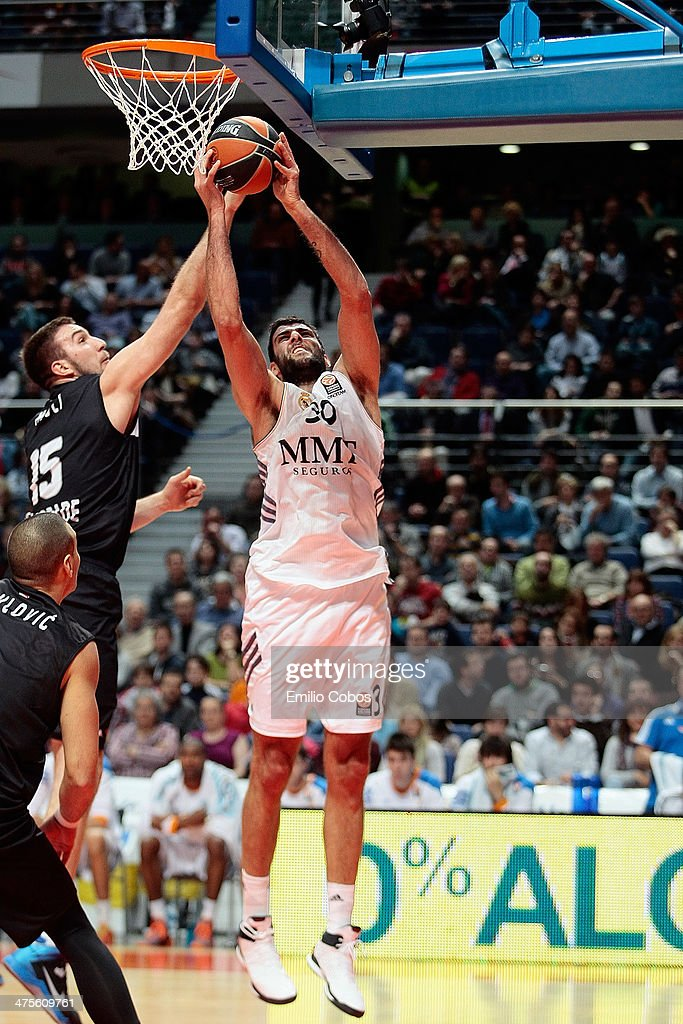 Ioannis Bourousis #30 of Real Madrid in action during the 20132014 Turkish Airlines Euroleague Top 16 Date 8 game between Real Madrid v Partizan NIS...
