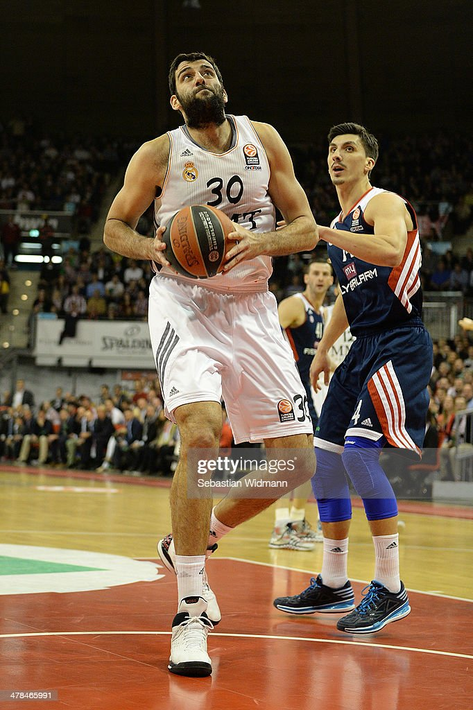 Ioannis Bourousis #30 of Real Madrid in action during the 20132014 Turkish Airlines Euroleague Top 16 Date 10 game between FC Bayern Munich v Real...