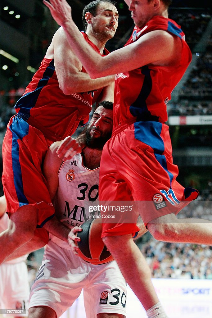 Ioannis Bourousis #30 of Real Madrid in action during the 20132014 Turkish Airlines Euroleague Top 16 Date 11 game between Real Madrid v CSKA Moscow...
