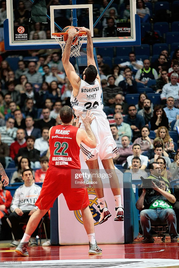 Ioannis Bourousis #30 of Real Madrid in action during the 20132014 Turkish Airlines Euroleague Top 16 Date 13 game between Real Madrid v Lokomotiv...
