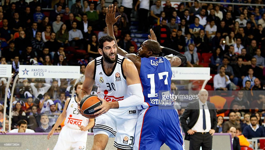 Ioannis Bourousis #30 of Real Madrid in action during the 20142015 Turkish Airlines Euroleague Basketball Regular Season Date 5 game between Anadolu...