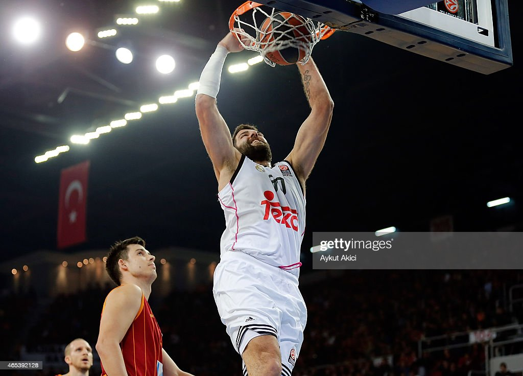 Ioannis Bourousis #30 of Real Madrid in action during the Turkish Airlines Euroleague Basketball Top 16 Date 9 game between Galatasaray Liv Hospital...