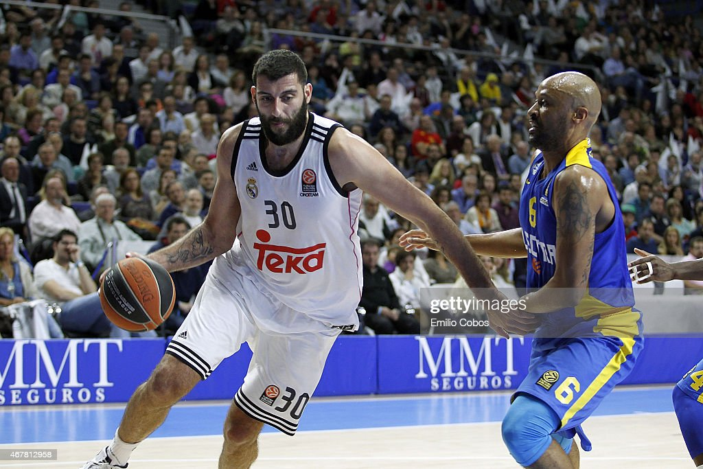 Ioannis Bourousis #30 of Real Madrid in action during the Turkish Airlines Euroleague Basketball Top 16 Date 12 game between Real Madrid v Maccabi...