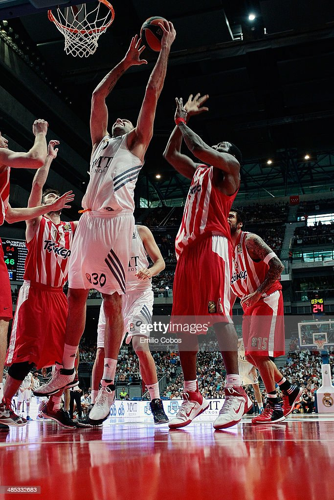 Ioannis Bourousis #30 of Real Madrid in action during the Turkish Airlines Euroleague Basketball Play Off Game 2 between Real Madrid v Olympiacos...