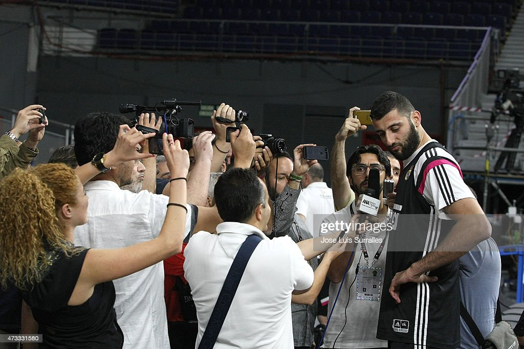 Ioannis Bourousis #30 of Real Madrid is interviewed during the Real Madrid Practice of Turkish Airlines Euroleague Final Four Madrid 2015 at...