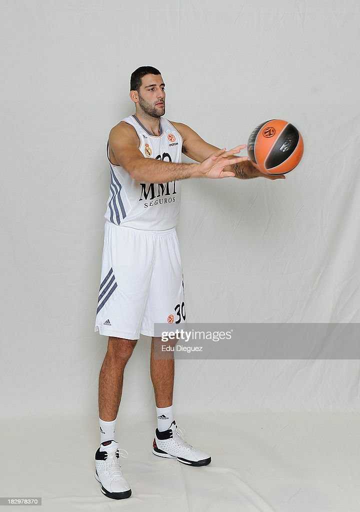 Ioannis Bourousis #30 of Real Madrid poses during the Real Madrid 2013/14 Turkish Airlines Euroleague Basketball Media Day at Palacio Deportes...