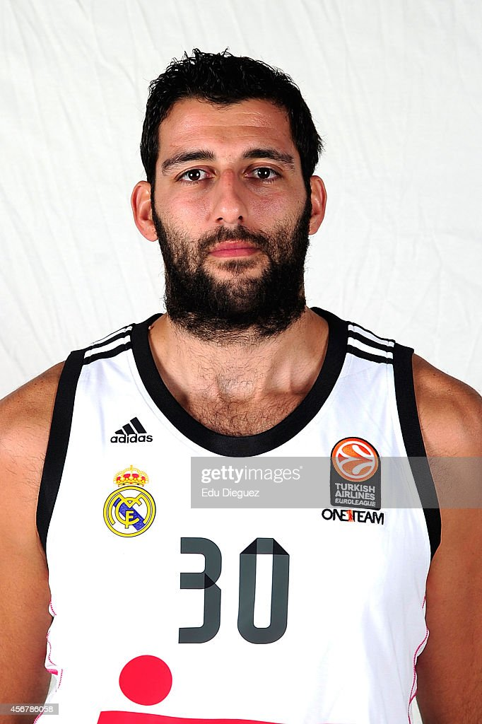 Ioannis Bourousis #30 poses during the Real Madrid 2014/2015 Turkish Airlines Euroleague Basketball Media Day at Barclaycard Center on October 2 2014...