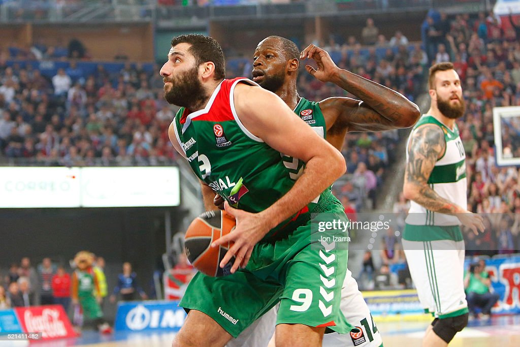 Ioannis Bourousis #9 of Laboral Kutxa Vitoria Gasteiz c in action during the 20152016 Turkish Airlines Euroleague Basketball Playoffs Game 2 between...