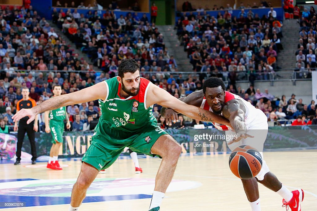Ioannis Bourousis #9 of Laboral Kutxa Vitoria Gasteiz competes with DJ Strawberry #8 of Olympiacos Piraeus during the Turkish Airlines Euroleague...
