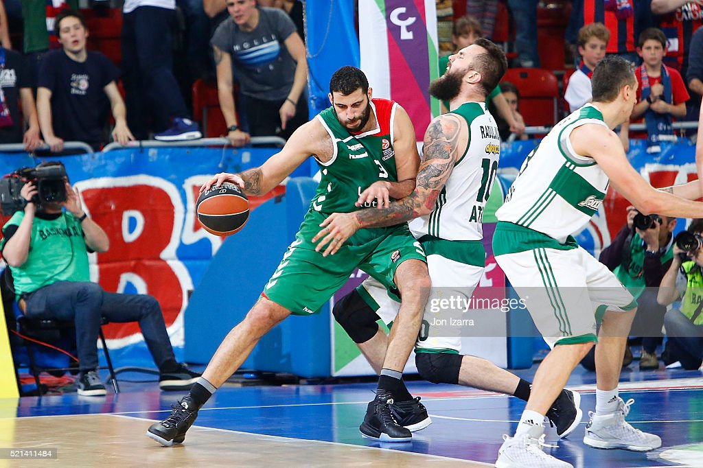 Ioannis Bourousis #9 of Laboral Kutxa Vitoria Gasteiz competes with Miroslav Raduljica #10 of Panathinaikos Athens during the 20152016 Turkish...