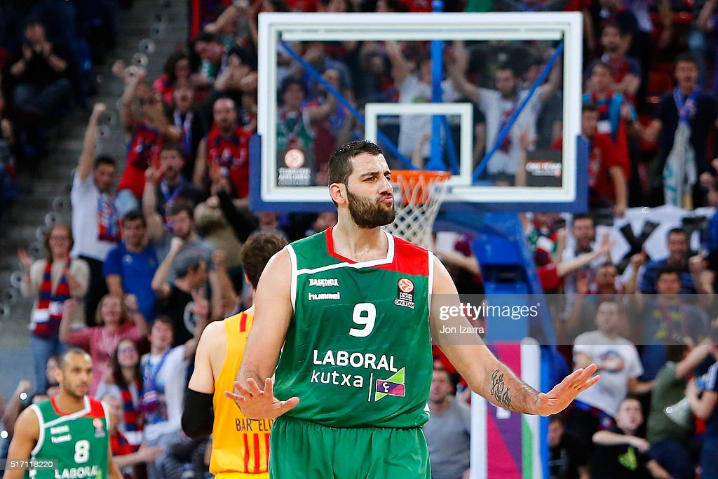 Ioannis Bourousis #9 of Laboral Kutxa Vitoria Gasteiz gestures during the 20152016 Turkish Airlines Euroleague Basketball Top 16 Round 12 game...