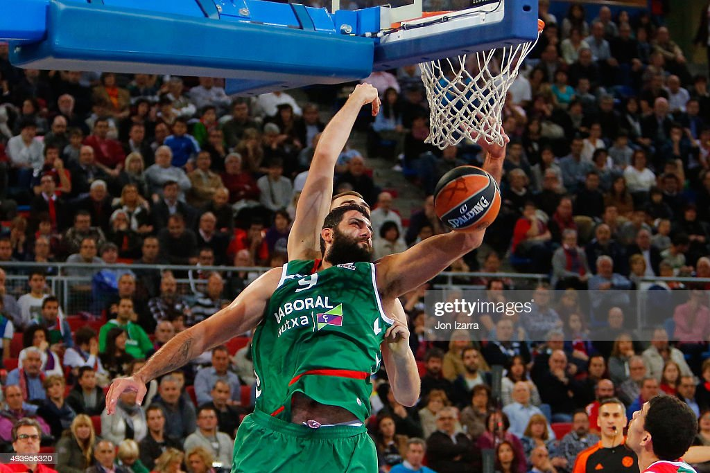Ioannis Bourousis #9 of Laboral Kutxa Vitoria Gasteiz in action during the Turkish Airlines Euroleague Regular Season date 2 game between Laboral...