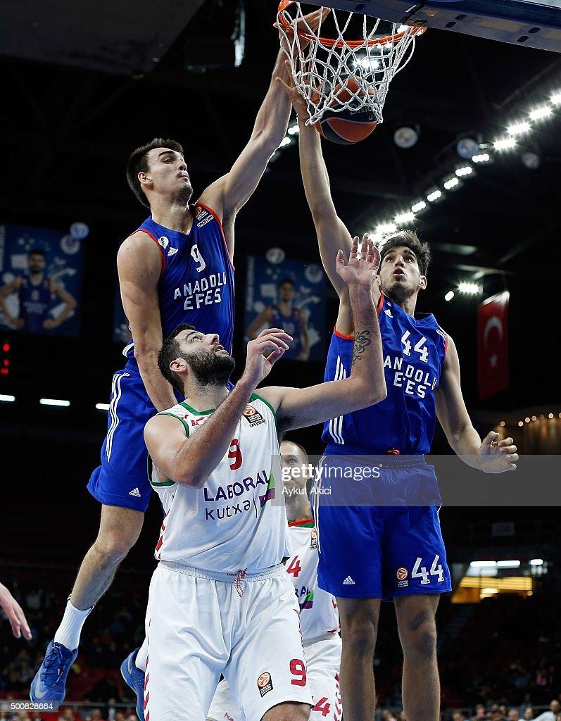 Ioannis Bourousis #9 of Laboral Kutxa Vitoria Gasteiz in action during the Turkish Airlines Euroleague Basketball Regular Season Round 9 game between...