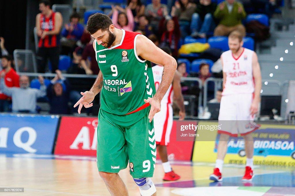 Ioannis Bourousis #9 of Laboral Kutxa Vitoria Gasteiz in action during the Turkish Airlines Euroleague Basketball Regular Season Round 10 game...