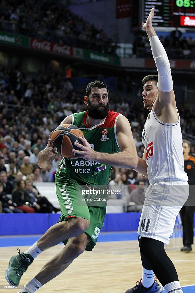 Ioannis Bourousis #9 of Laboral Kutxa Vitoria Gasteiz in action during the Turkish Airlines Euroleague Basketball Top 16 Round 6 game between Real...