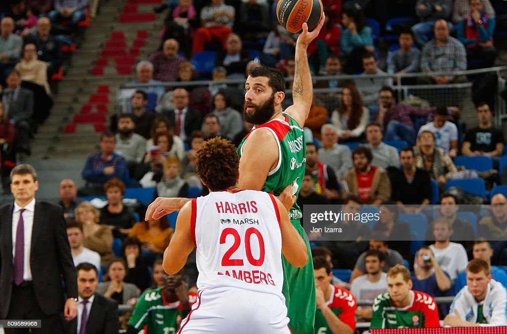 Ioannis Bourousis #9 of Laboral Kutxa Vitoria Gasteiz in action during the Turkish Airlines Euroleague Basketball Top 16 Round 7 game between Laboral...