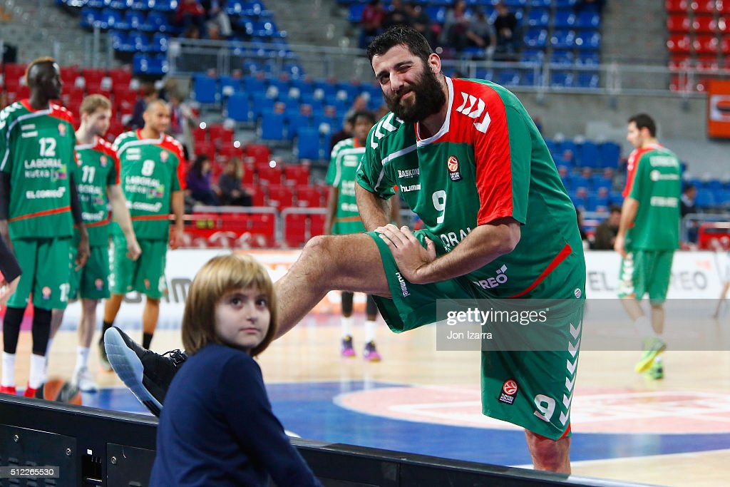 Ioannis Bourousis #9 of Laboral Kutxa Vitoria Gasteiz in action during the 20152016 Turkish Airlines Euroleague Basketball Top 16 Round 8 game...