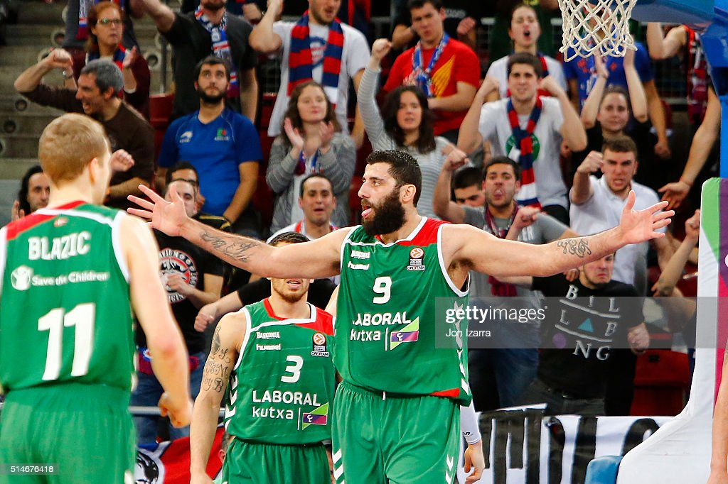 Ioannis Bourousis #9 of Laboral Kutxa Vitoria Gasteiz in action during the 20152016 Turkish Airlines Euroleague Basketball Top 16 Round 10 game...