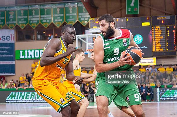 Ioannis Bourousis #9 of Laboral Kutxa Vitoria in action during the Turkish Airlines Euroleague Regular Season date 3 game between Limoges CSP v...