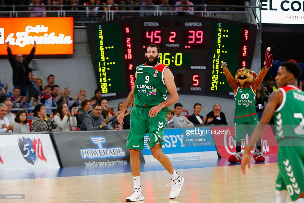 Ioannis Bourousis # of Laboral Kutxa Vitoria Gasteiz in action during the Turkish Airlines Euroleague Regular Season date 2 game between Laboral...