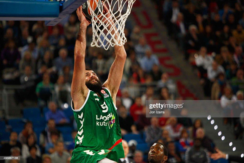 Ioannis Bourousis of Laboral Kutxa Vitoria Gasteiz in action during the Turkish Airlines Euroleague Basketball Regular Season date 4 game between...