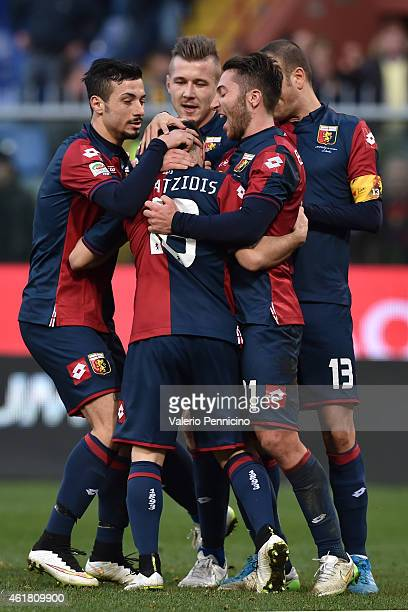 Ioannis Fetfatzidis of Genoa CFC celebrates after scoring the equalising goal with team mate Andrea Bertolacci during the Serie A match between Genoa...