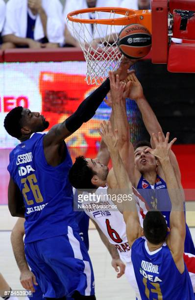 Ioannis Papapetrou #6 of Olympiacos Piraeus competes with Mathias Lessort #26 of Crvena Zvezda mts Belgrade during the 2017/2018 Turkish Airlines...