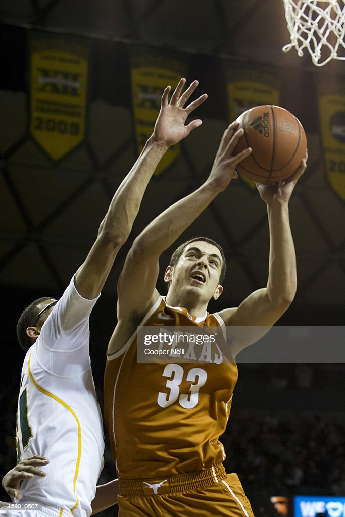 Ioannis Papapetrou #33 of the University of Texas Longhorns drives to the basket against the Baylor University Bears on January 5, 2013 at the Ferrell Center in Waco, Texas.